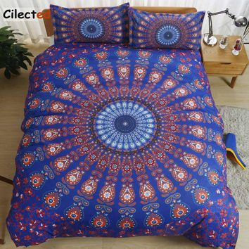 Cilected Sanding Peacock Printed Mandala Bedding Set 2/3pc Bohemia Set Bed Cover Up Pillowcase California King Duvet Cover Sets