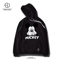 Winter plus velvet hooded sweater men and women street teenage Mickey print hooded shirt  Black