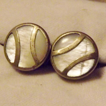 Vintage Mother of Pearl Formal Shirt Studs Cufflinks Silver Set