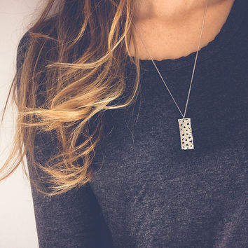 White gold tag necklace | Bar necklace, Stamped jewelry, Textured pendant necklace