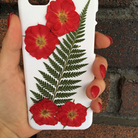 Red Rose and Feather Fern Iphone 6 case- Floral Phone case- Handmade Phone Case- Iphone Case- Real Flower Phone Case-