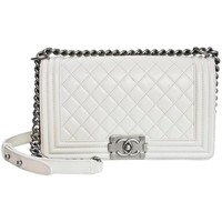 Chanel White Quilted Leather Medium Boy Bag SHW rt. $4,700