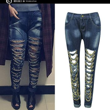Gold Chain Decorate Cut Out Holes Skinny Long Jeans