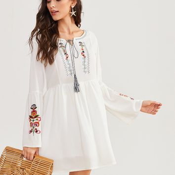 Floral Embroidery Bell Sleeve Peasant Dress