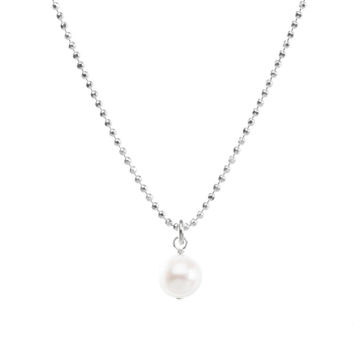 pearls of potato pearl sparkle ball chain necklace, sterling silver | dogeared