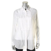 Lauren Ralph Lauren Womens Sheer Pintuck Polo Top White 2