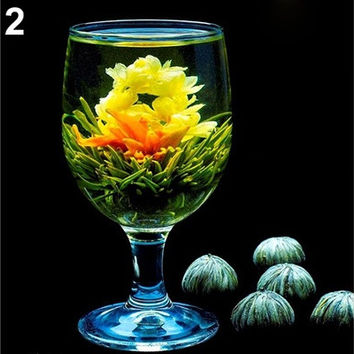 Cute Home Decoration 4 Balls Handmade Blooming Flower Green Tea Art Wedding Accessories Decals lovely Style (Size: One Size) [7981622215]