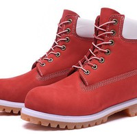 PEAPON Timberland Rhubarb Boots 2018 White Red Waterproof Martin Boots