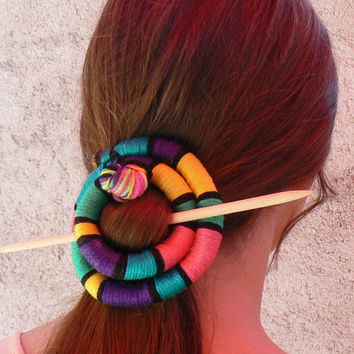 Multicolor hair slide Barrette Rainbow brooch Hair accessory Circular fascinator