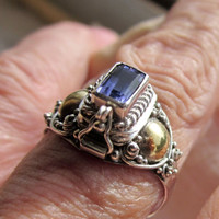 925 sterling silver genuine iolite poison ring size 8 1/2 Renaissance ring sterling silver keepsake cremation ring copper accents