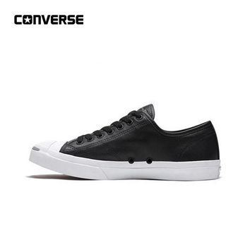 New Arrival Authentic CONVERSE All Star Jack Purcell Jack Leather Opening Trend Street Teen Skateboarding Shoes Black Genuine