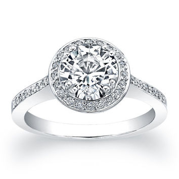 Platinum diamond engagement ring with halo top surround 1ct natural Round White Sapphire with 0.20 carats G-VS2 diamond quality
