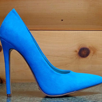 "Alba Ricky Blue Micro Suede Pointy Toe Pump Shoe 4.5"" Stiletto High Heels 6- 11"