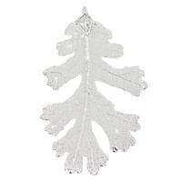 """Real Leaf Christmas ORNAMENT Lacey OAK 3"""" Dipped in Sterling Silver"""