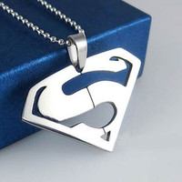 Women's Stainless Steel Men Superman Logo Super Hero Charm Pendant Necklace New (Color: Silver) = 1946033668