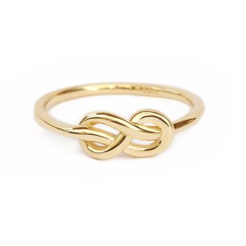 Petite Infinity Knot Gold Ring, Infinity Wedding Band, delicate unique infinity wedding ring, 14K yellow gold, Size 5, Ready To Ship