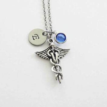 Veterinarian Necklace, Caduceus, Doctor, Medical Jewelry, Swarovski Birthstone, Silver Initial, Personalized, Monogram, Hand Stamped Letter