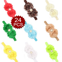 Opentip.com: Alice Baby's Headbands Girl's Cute Hair Bow Wear Flower (Pack of 24), Mix Color