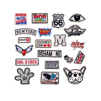 ac NOOW2 Cool Patches NEW YORK POW STAR Dog Wing heart Patches Iron On Or Sew Fabric Sticker For Clothes Badge Embroidered Appliques DIY