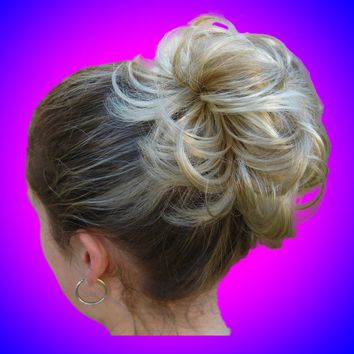 *Multi-Tone* Elastic Piece Bun Scrunchies Scrunchy Dance Recital Like Human Hair