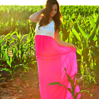 THE SWEETHEART CHIFFON MAXI DRESS IN HOT PINK