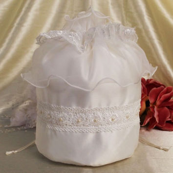 Satin Ivory or White Drawstring Money Bridal Bag Purse