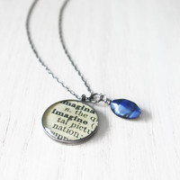 Imagine Necklace - dictionary word john lennon inspirational resin pendant blue glass bead on sterling silver chain - hand-stamped jewelry