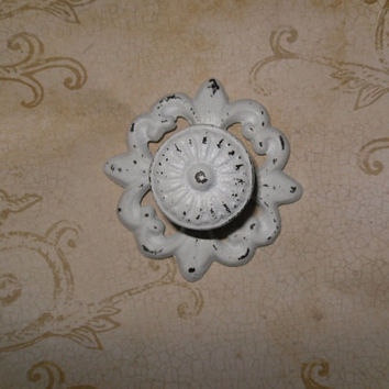 SUPER XMAS SALE White Shabby Chic Cast Iron Knob / Cottage Style / Drawer Knob /Dresser Pull /Decorative Knob