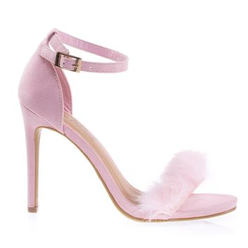 Truelove39M Pink By Anne Michelle Fluffy Faux Feathery Fur High Heel Sandal