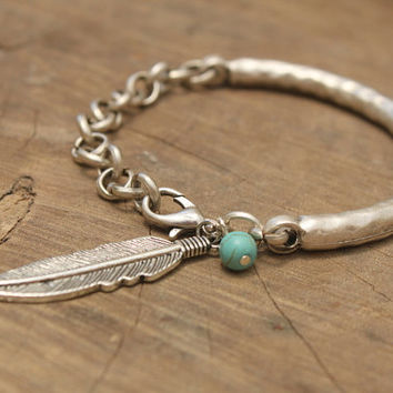 Boho Silver/Gold tone feather Turquoise bangle Bracelet Native American Indian Navajo Tribal adjustable stackable bracelet Free people style