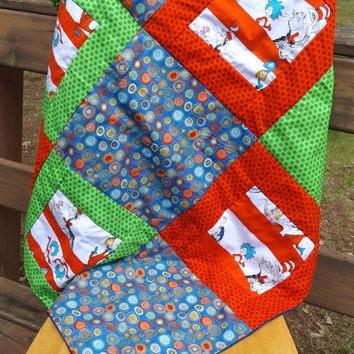 Sale - Handmade Patchwork Bright Celebration Seuss Fabric and Minky Large Crib Baby Quilt, Multiple Character Fabric, Modern Crib Quilt