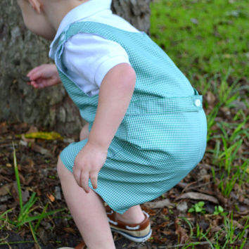 SALE Embroidered Green Gingham Boys Shortall Romper  - Easter - Monogrammed -  Boy easter outfit