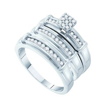 14kt White Gold His & Hers Round Diamond Cluster Matching Bridal Wedding Ring Band Set 3/8 Cttw