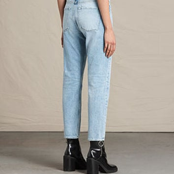 ALLSAINTS US: Womens Charlie Slim Cropped Jeans (LIGHT INDIGO BLUE)
