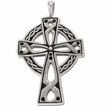 Sterling Silver Large Open Oxidized Celtic Cross Pendant