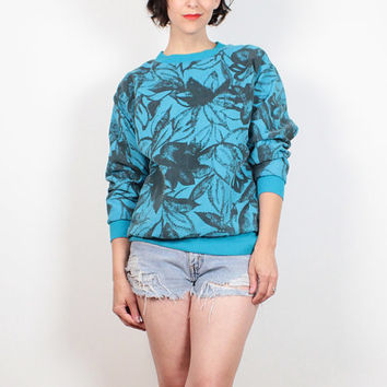 Vintage 1980s Sweatshirt Mod Teal Blue Gray Floral Print REVERSIBLE Sweater Surfer Print Tshirt Top 80s Sweater New Wave Jumper M Medium L