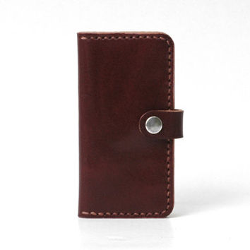 Minimal Leather Iphone 5 Wallet Iphone 5 / 5s Case, Personalized, Vegetable-tanned Leather, Handmade Hand-stitched, Grape