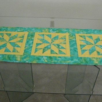 "Quilted Table Runner  Aquamarine and yellow 18"" x 47"""