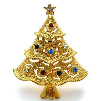 Vintage Rhinestone Christmas Tree Pin Brooch JJ