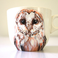 Handpainted Teacup or Coffee Mug / Woodland Animal / Owl