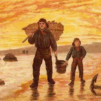 Fisherman & his son carry baskets on the beach past an anchor (Paper Poster)