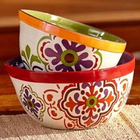 Global Expressions Serving Bowls Set of 2 Moroccan Design Kitchen Table Decor