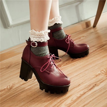 Gothic Punk Plus Size Mary Janes Womens Round Toe Lace Up Block Chunky High Heel Platform Pumps Roma Shoes