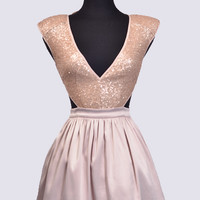 SEQUIN BODICE SATIN DRESS W/ WHITE PATTICOAT LINING - Preorder