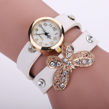 Hot Sale Butterfly Ladies Ring Watch Diamonds Bracelet Watch [6047866881]