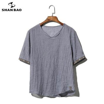 LMFGC3 SHAO BAO brand clothing cotton and linen short-sleeved T-shirt men's 2017 summer thin paragraph loose t-shirt large size M-5XL