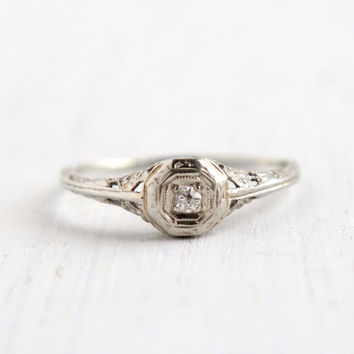 Antique Art Deco 14K White Gold Diamond Ring - Size 5 1920s 1930s Filigree Engagement Fine Jewelry / Open Floral Metal Work