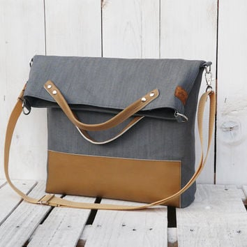 grey tote bag brown leather canvas foldover crossbody modern everyday bag messenger bag