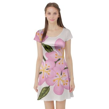 Pink Flowers Short Sleeve Skater Dress