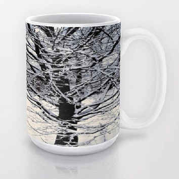 Black, White, Snow, Trees, Winter - Ceramic Mug, 2 Sizes Available - Kitchen, Bathroom, New Home, Dorm, Gift - Made To Order - WW#17